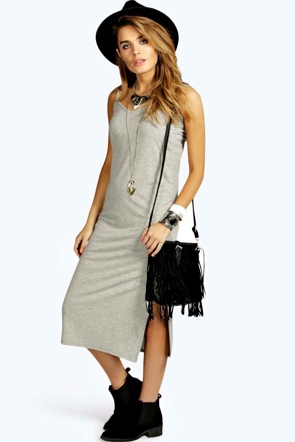 Zoe Side Split V Neck Calf Length Dress